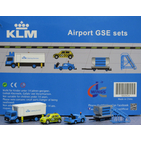 JC Wings Airport 1:200 KLM Royal Dutch Airlines Ground Support Equipment (GSE) Set #4 - Catering Truck, Follow Me Vehicle, Baggage Cart & Vehicle, Stairs (XX2024)