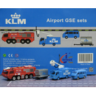 JC Wings Airport 1:200 KLM Royal Dutch Airlines Ground Support Equipment (GSE) Set #6 - Fire Truck, LD-3 Dolly, Boom Truck, Van (XX2026)