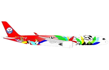 JC Wings 1:400 Sichuan Airlines Airbus A350-900 XWB 'Panda - Flaps Up' B-301D (KD4CSC101 / KD4101)